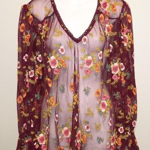 ANTHROPOLOGIE Feather Bone sheer top floral